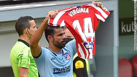 Diego Costa dedicated his goal for Atletico Madrid to women's player Virginia Torrecilla.