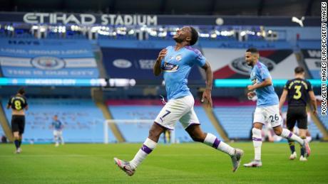 Raheem Sterling scored the opening goal against Arsenal.