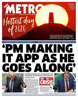 The Metro front page 25.06.20