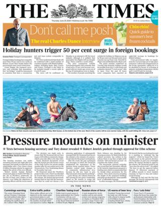 The Times front page 25.06.20