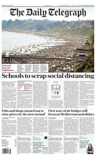The Daily Telegraph front page 25.06.20