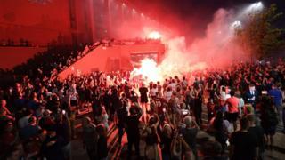 Huge crowd outside Anfield