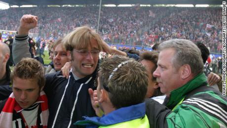 Klopp celebrates promotion as Mainz manager.