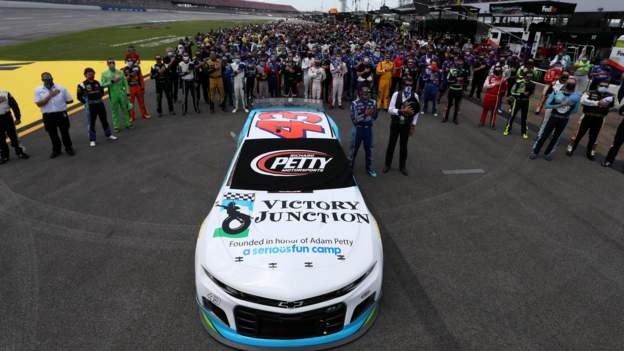 Bubba Wallace: Nascar driver emotional as drivers push car to start-line