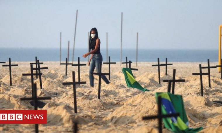 Coronavirus: Fracas on Brazil's Copacabana over Covid-19 'graves'