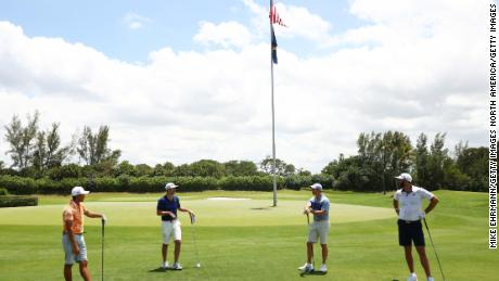 Rickie Fowler, Matthew Wolff, Rory McIlroy and Dustin Johnson compete at the TaylorMade Driving Relief match.