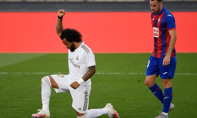 Real Madrid's Marcelo supports for Black Lives Matter movement with goal celebration