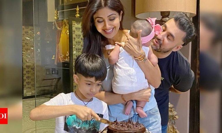 Photos: Shilpa Shetty Kundra celebrates her birthday with hubby Raj Kundra and kids- Viaan and Samisha | Hindi Movie News