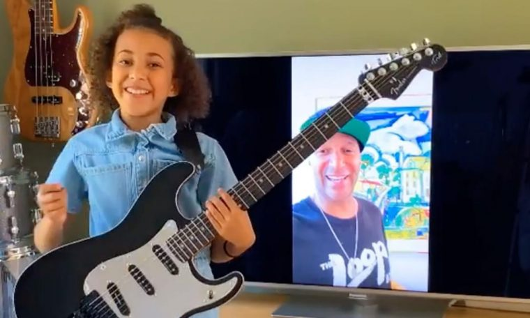 Tom Morello of Rage Against the Machine gifted one of his guitars to a 10-year-old rocker girl