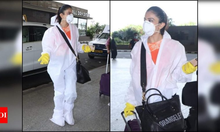 Unlock 1.0: Rakul Preet Singh gets clicked at the airport covered in the PPE gear, see photos | Hindi Movie News