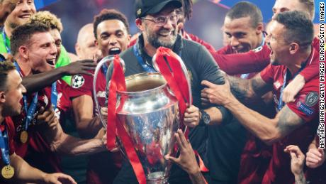 Klopp celebrates with the Champions League trophy  at Estadio Wanda Metropolitano on June 1, 2019.