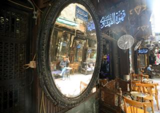 Al-Fishawy cafe in Cairo, Egypt, 27 June 2020. Egyptian authorities decided to ease coronavirus restrictions gradually. Cafes and restaurants are back to business starting from 27 June 2020, but they must operate at 25% of their capacity and observe social distancing among other safety measures, and any violations will result in the suspension of the facility