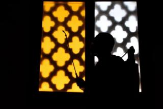 A man spray disinfectant in the mosque before opening them in front of worshipers, according to the decision of the Egyptian government, Egypt, Cairo, June 27, 2020