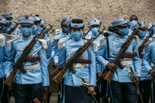 Students from the Antsi Military Academy (school for officers of the Malagasy army) are positioned in downtown Antananarivo on June 26, 2020 before the Malagasy military troops parade in front of the President of the Republic for the traditional Malagasy Independence Day, which was exceptionally organised on the Avenue de l'Indépendance in the city centre but without being open to the public.