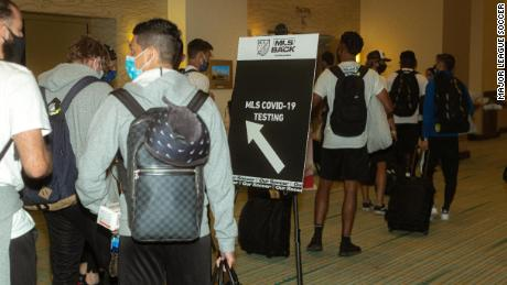 San Jose Earthquakes players check in for testing.