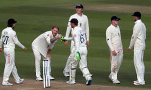 England's Ben Stokes (second left) celebrates taking the wicket of West Indies Shane Dowrich.