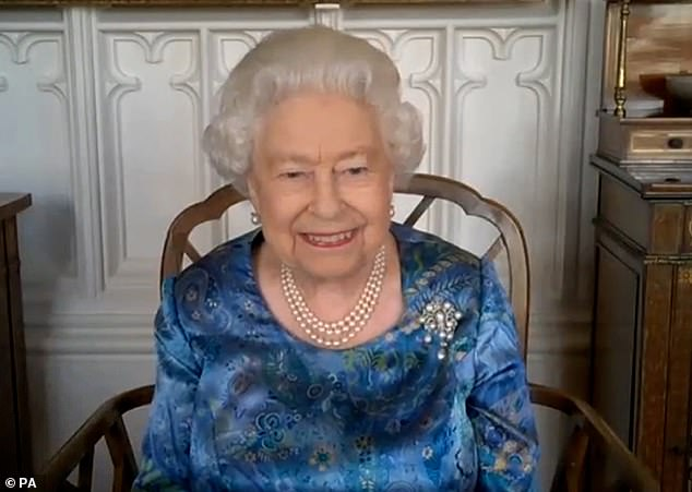 The 94-year-old Queen, pictured during a video call from Windsor Castle, where has been staying since before lockdown for her safety, will carry out the official engagement in person