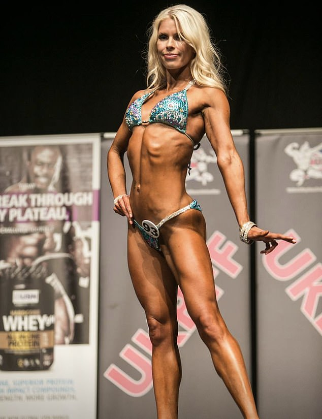 Gemma, pictured competing in a bikini fitness competition, died peacefully in her new husband's arms on Wednesday