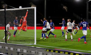 Fulham keeper Marek Rodak makes an incredible save and tips over a shot by Cardiff City's Will Vaulks.