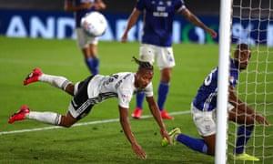 Bobby Decordova-Reid of Fulham misses a header.