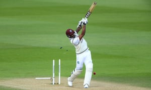 Mark Woo sends Shannon Gabriel's stump and bails flying and the West Indies are all out for 318.