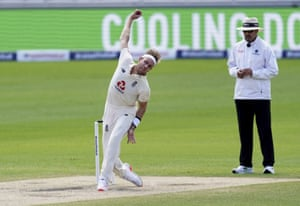 Broad sends down a delivery.