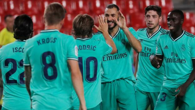 Granada 1-2 Real Madrid: Leaders two points from La Liga title