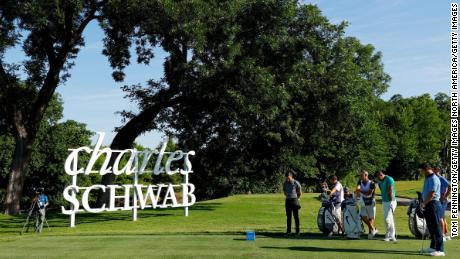 Rory McIlroy, Jon Rahm and Brooks Koepka take part in a moment of silence held in place of the 8:46 tee time to remember George Floyd during the second round of the Charles Schwab Challenge.