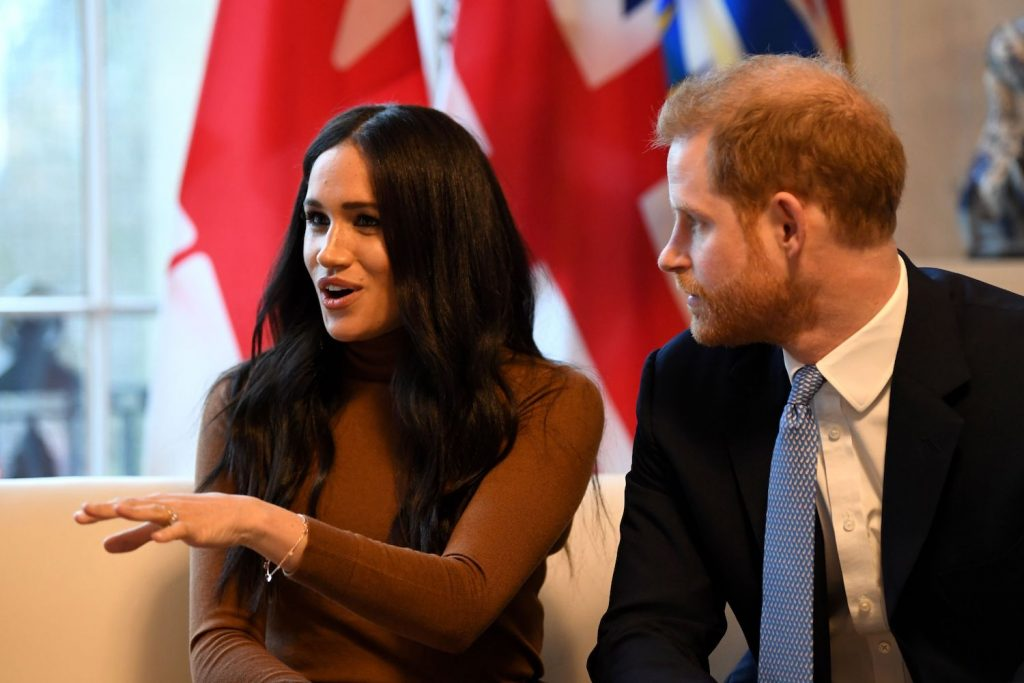 Prince Harry and Meghan Markle during their visit to Canada House in thanks for the warm Canadian hospitality and support they received during their recent stay in Canada