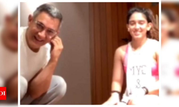 Watch: Aamir Khan crashes daughter Ira Khan's live workout video and it is simply hilarious   Hindi Movie News