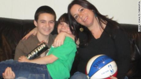 Karen Schultz-Tarnopol pictured with her sons Jake and Jonah around 2010.