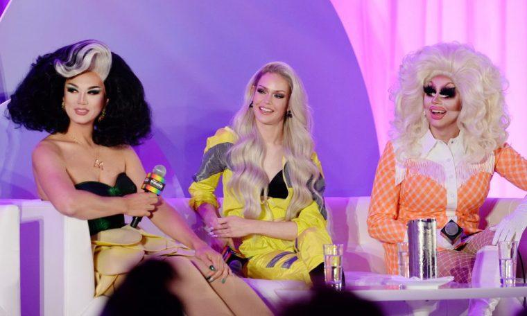 Manila Luzon, Blair St. Clair, and Trixie Mattel speak onstage
