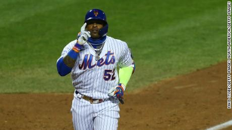 Céspedes celebrates a home run against the Boston Red Sox last month.