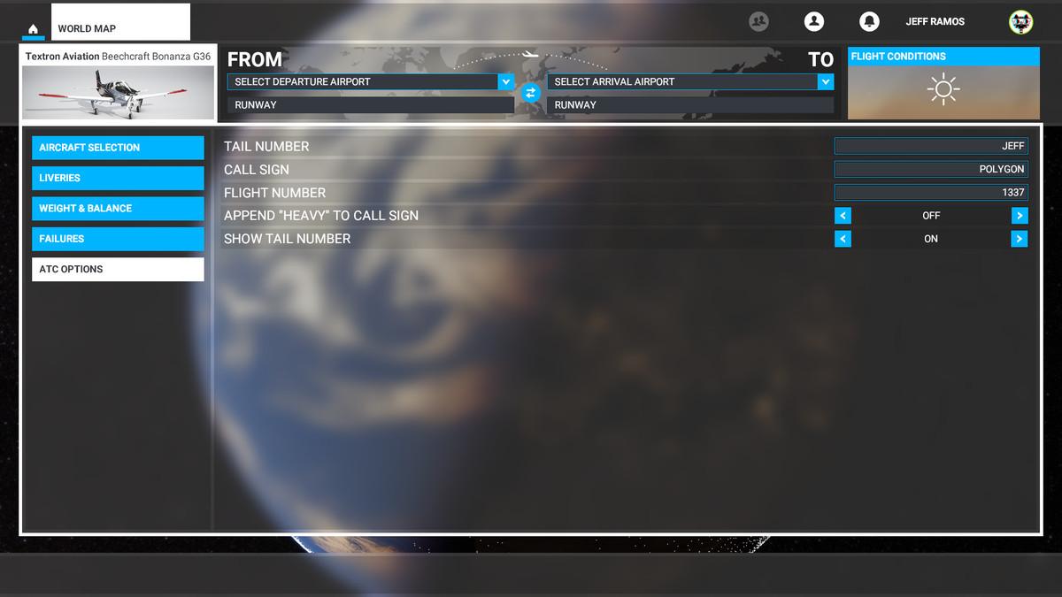 The ATC Options in Microsoft Flight Simulator