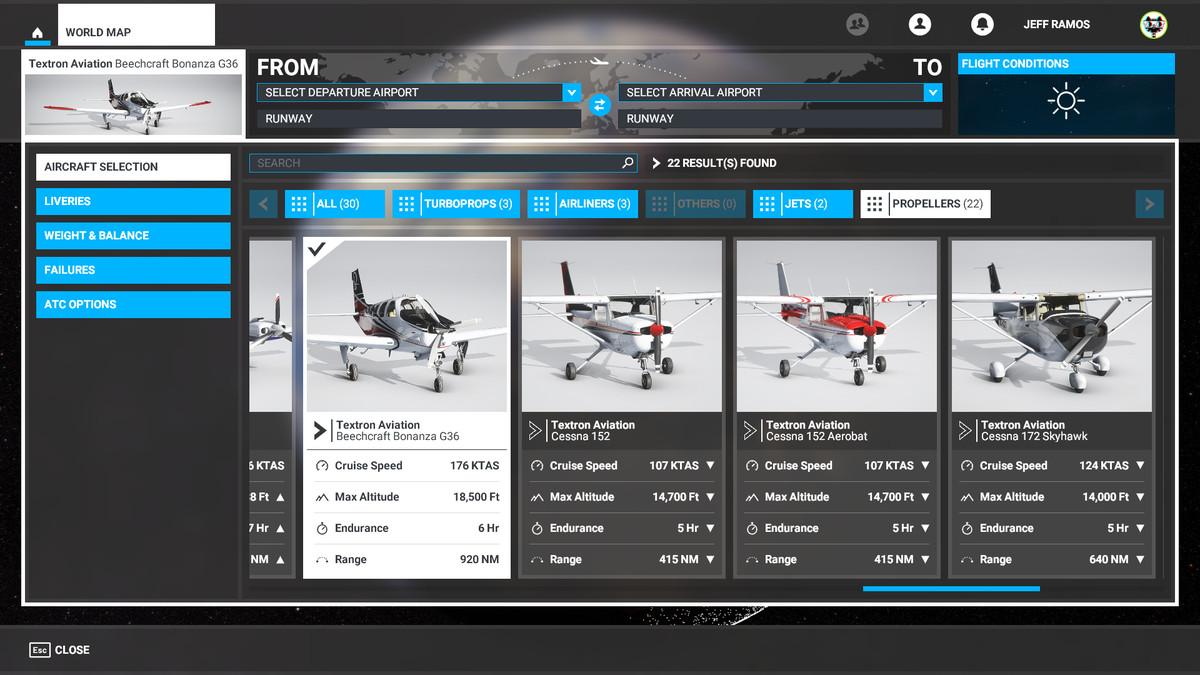 Propeller planes in Microsoft Flight Simulator