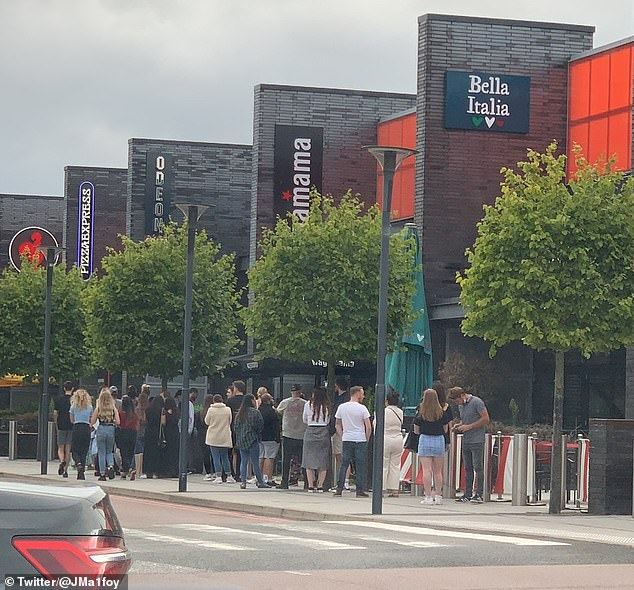 Some 10million people took advantage of the scheme between August 3 and August 9. Pictured: A queue for a restaurant during the scheme