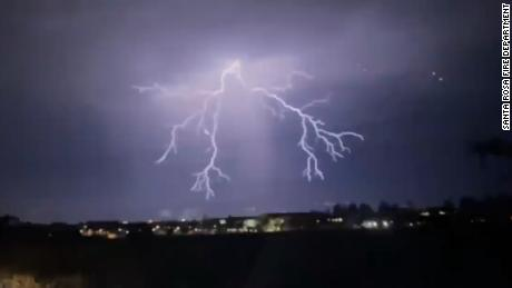 Llightning in Santa Rosa, California. This week alone, nearly 11,000 lightning bolts hit California within 72 hours.