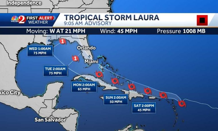 Florida in Tropical Storm Laura's forecast cone