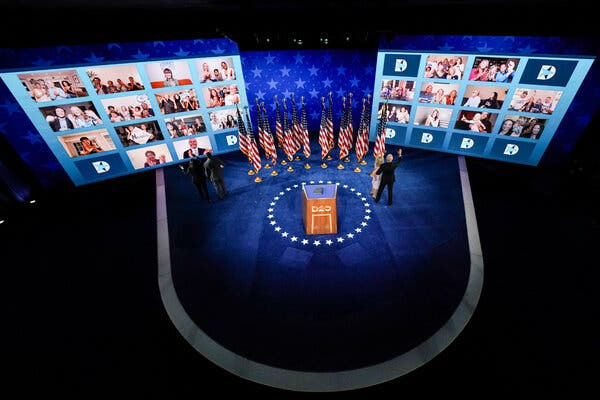Joseph R. Biden Jr. accepted the Democratic nomination for president on Thursday to applause via videoconference.