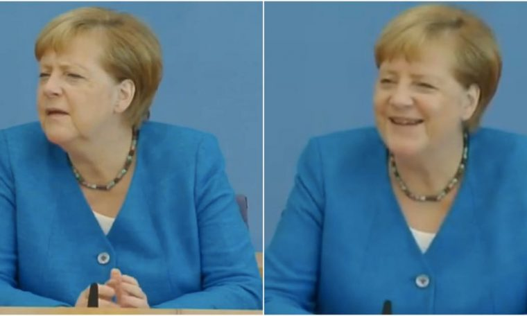 Angela Merkel looks confused after being asked if Trump 'charmed' her