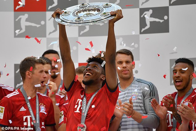 Bayern Munich winger Kingsley Coman won his eighth consecutive league title this season