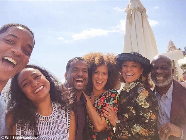 Big smiles: Before that, the same group gathered at Nobu Malibu in 2017 in honor of a British family, who bid the highest for lunch with the cast through Parson's charity, Sweet Blackberry Foundation