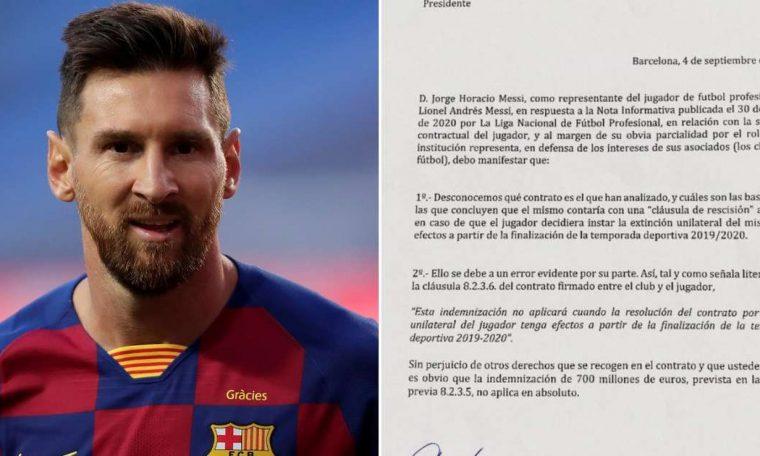 Lionel Messi: Barcelona star's father sends letter to La Liga over ਧ 700m release clause