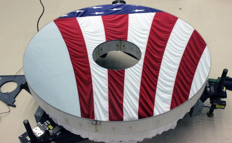 The Roman Space Telescope primary mirror reflects the American flag