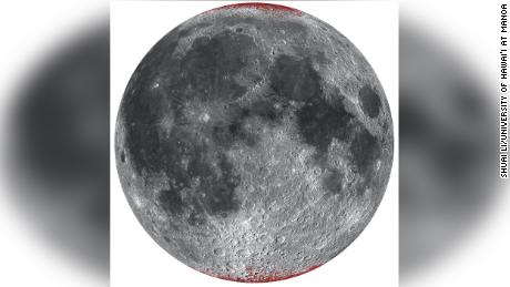 An improved map of hematite (dust) on the moon, shown in red using a circular project from Norside.