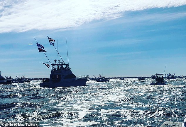 New Jersey: Many Trump supporters gather for Flotilla at Barnegate Bay, NJ