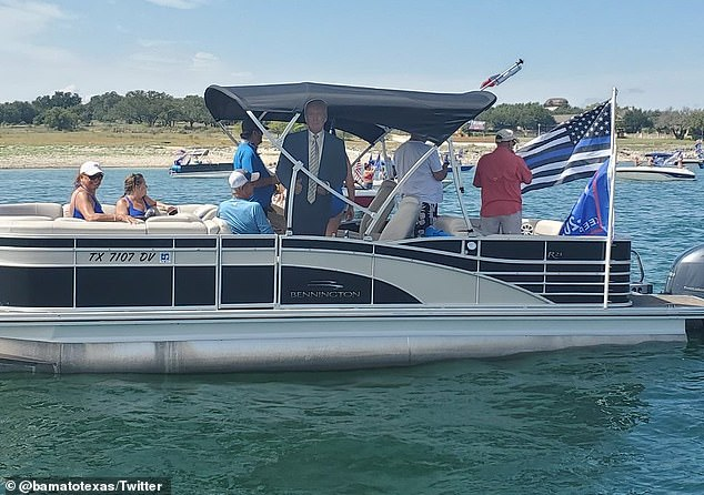 During the parade, part of the President's life-size was seen on a pontoon boat on Lake Travis.