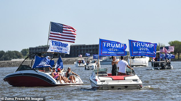 Iowa: The Trump boat parade was held on the Mississippi River near Bettendorf, Iowa on Saturday.