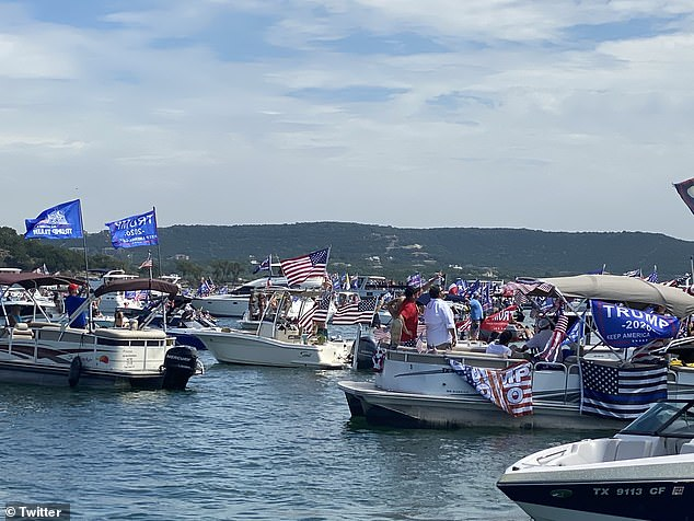 Hundreds of boats are believed to have gathered on the lake in support of the president on Saturday.