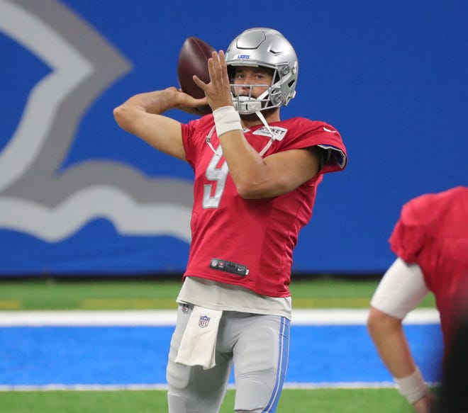 Detroit Lions quarterback Matthew Staff passed during practice at Stafford Ford Field on Tuesday, September 2, 2020.